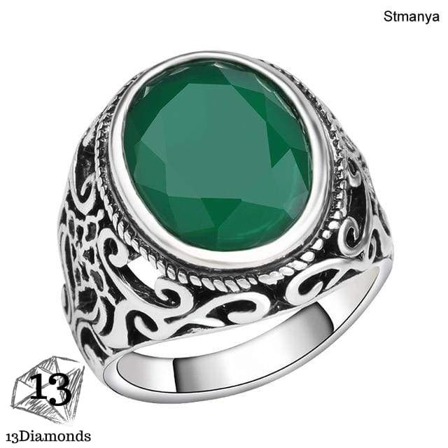 Best Price New Fashion Rings for Men Stone Antique Silver Color Plating Ring for Party Vintage Rings Jewelry 31057 10 / Green