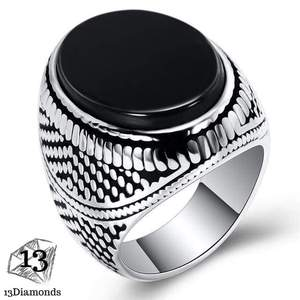 Fashion Super Hero Ring Men's Ring With Black Stone Ring 316L Stainless Steel Jewelry Vintage Silver Plated Ring 11 / Black
