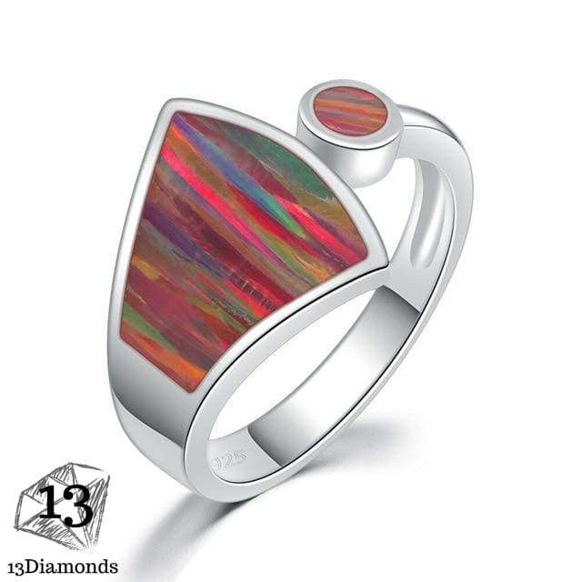 CiNily Rainbow Large Fire Opal Rings Silver Plated Orange Red Blue Sector Waterdrop Ring With Stone Jewelry Gift for Women Girls 10 / OJ8057