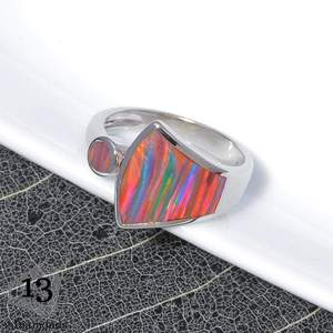 CiNily Rainbow Large Fire Opal Rings Silver Plated Orange Red Blue Sector Waterdrop Ring With Stone Jewelry Gift for Women Girls
