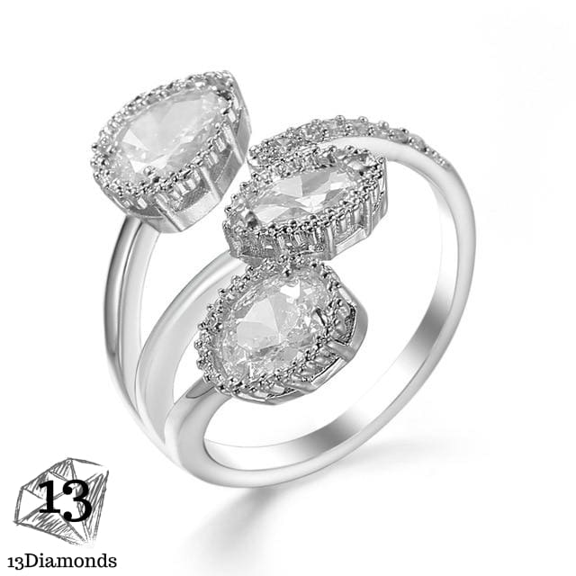Silver Zircon Rings Resizable / 6 Rings