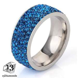 5 Row Crystal Ring 11 / Blue Rings