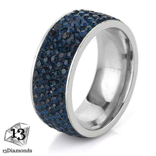5 Row Crystal Ring 11 / Dark Blue Rings