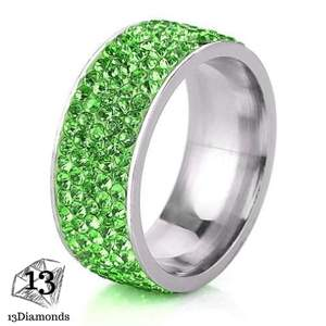5 Row Crystal Ring 11 / Green Rings