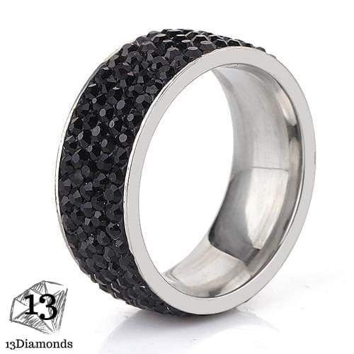 5 Row Crystal Ring 5.5 / Black Rings