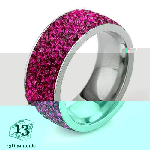 5 Row Crystal Ring 5.5 / Pink Rings