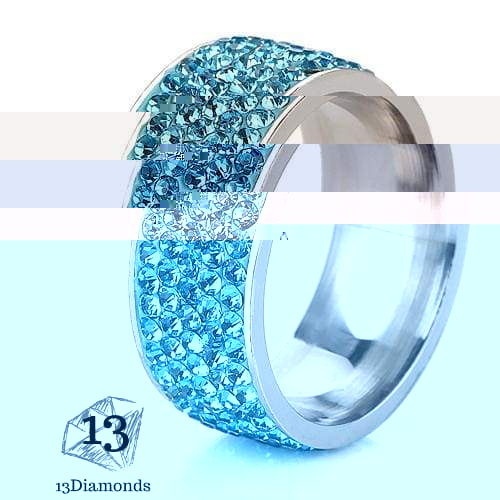 5 Row Crystal Ring 5.5 / Sky Blue Rings