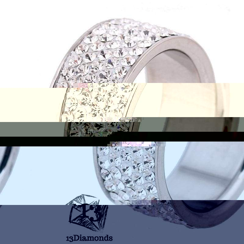 5 Row Crystal Ring 5.5 / White Rings