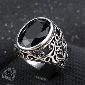 Best Price New Fashion Rings for Men Stone Antique Silver Color Plating Ring for Party Vintage Rings Jewelry 31057
