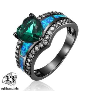 Black Opal Heart Ring 11 / Green Rings