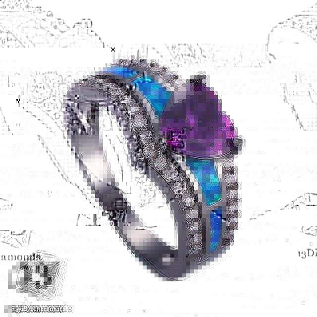 Black Opal Heart Ring 11 / Purple Rings