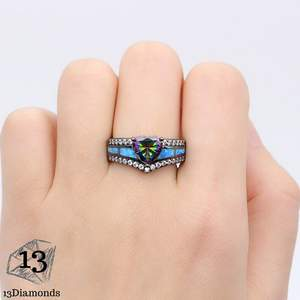 Black Opal Heart Ring Rings