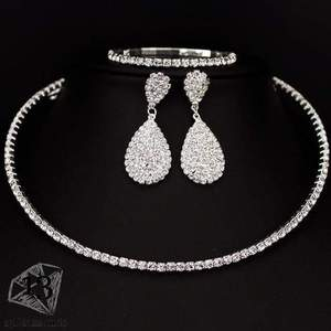 Classic Crystal Necklace Earrings & Bracelet Set 1 layer Sets