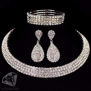 Classic Crystal Necklace Earrings & Bracelet Set 4 layer Sets
