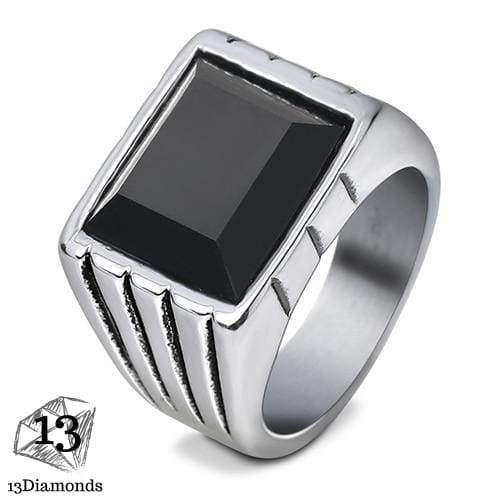 Fashion Super Hero Ring Men's Ring With Black Stone Ring 316L Stainless Steel Jewelry Vintage Silver Plated Ring 11 / 1