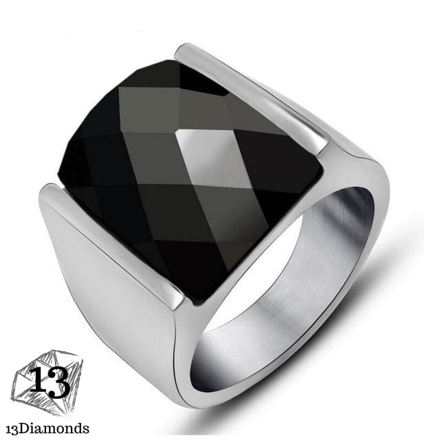 Fashion Super Hero Ring Men's Ring With Black Stone Ring 316L Stainless Steel Jewelry Vintage Silver Plated Ring 11 / 4
