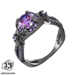 Purple Cubic Zircon Ring Rings