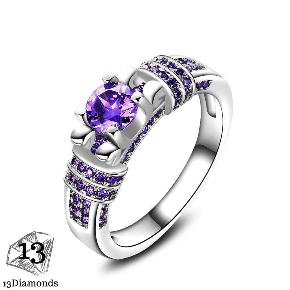 Purple Zircon Wedding Ring Silver / 10 Rings