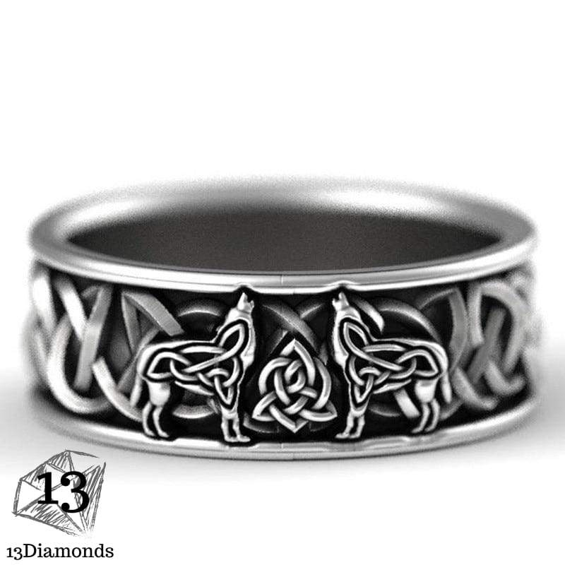 Antique Silver Color Nordic Viking Mythology Giant Wolf Ring Totem Amulet Defense Punk Rock Finger Band For Men Jewelry Gift